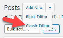 Select Classic Editor from the Add New drop-down list