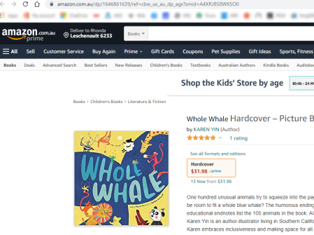 Amazon.com.au's webpage for Whole Whale, shwoing a price of $31.98 for the hardcover book