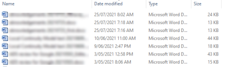 Explorer properties for Document include Name, Date Modified, file Type, and file Size