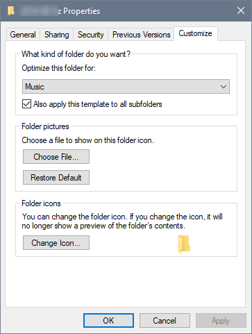 On the Folder Properties window, select the type of files (Music is selected) and check the box for Also Apply this Template to all Subfolders, then click OK