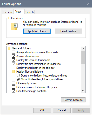Folder Options window where you click the Apply to Folders button